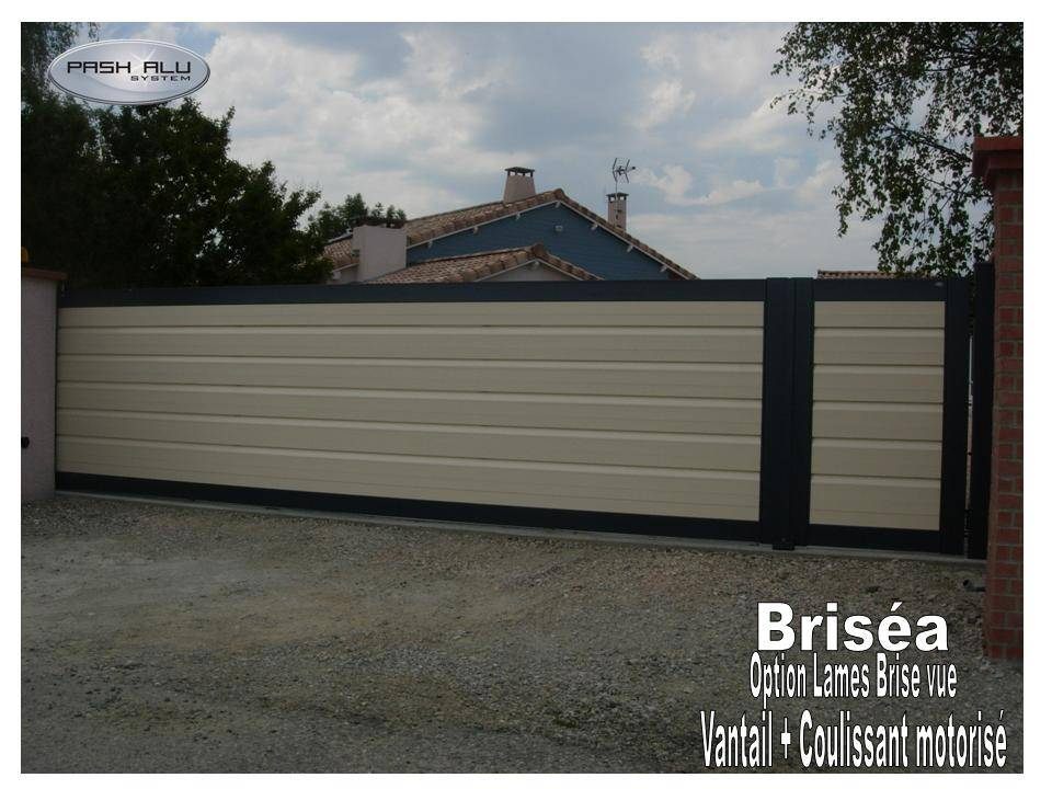 Top Portail aluminium briséa AS3 Coulissant et portillon integre l  ZK74