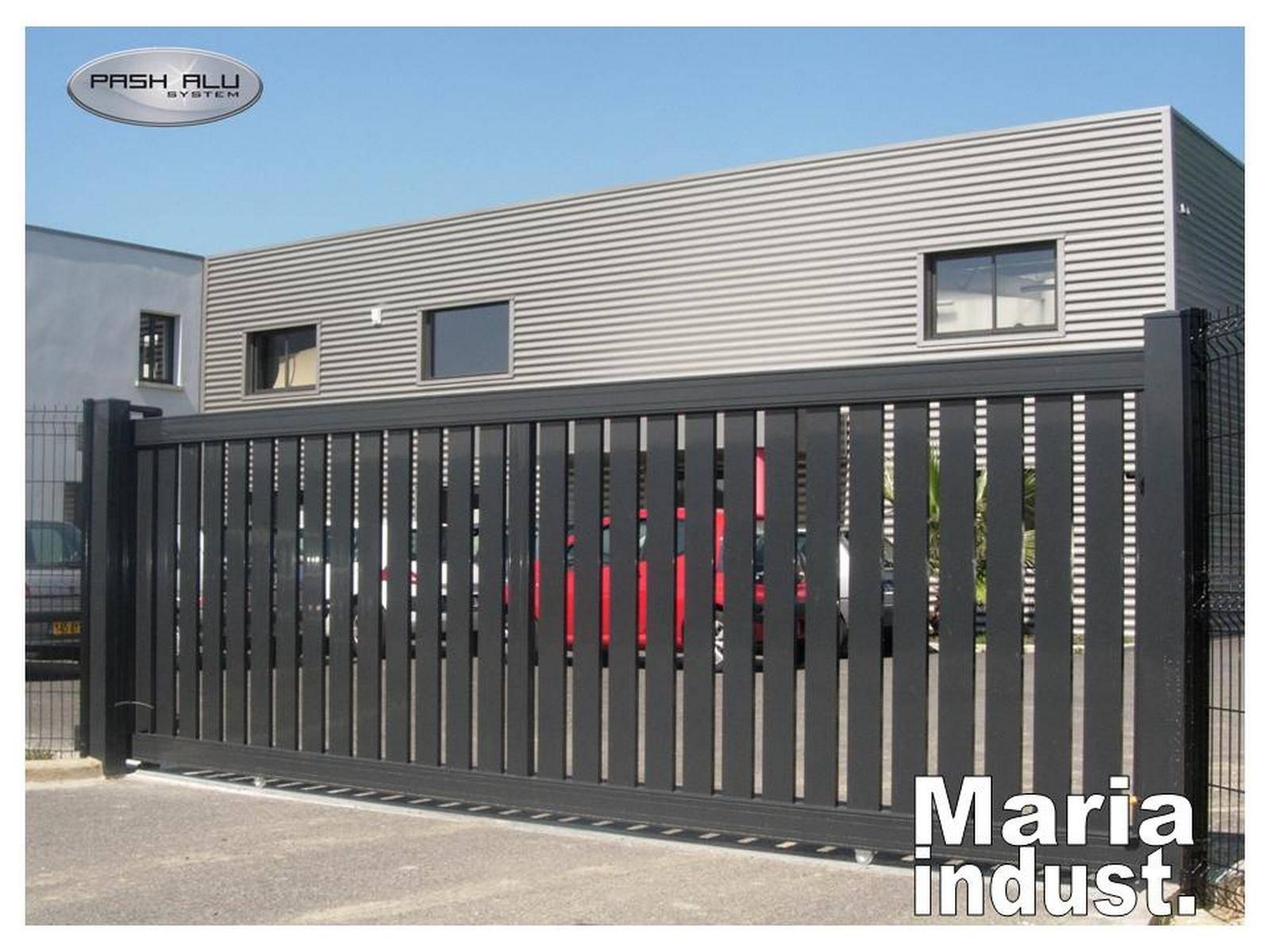 Portail industriel 7 m coulissant fabrication et pose de portail volets et pergola autour de for Portail alu coulissant m
