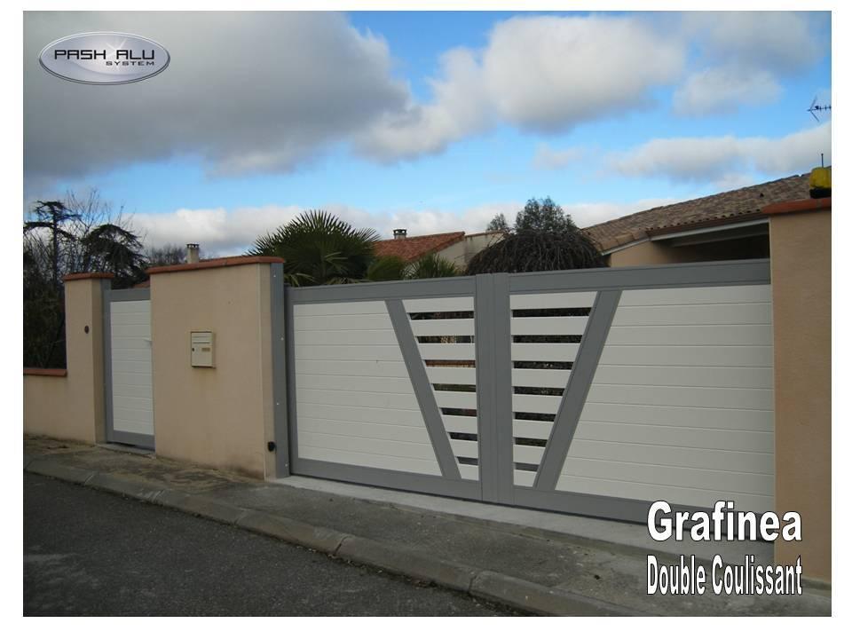 Portail aluminium grahinea as1 bi coloration fabrication et pose de portail volets et pergola for Fabricant portail alu coulissant
